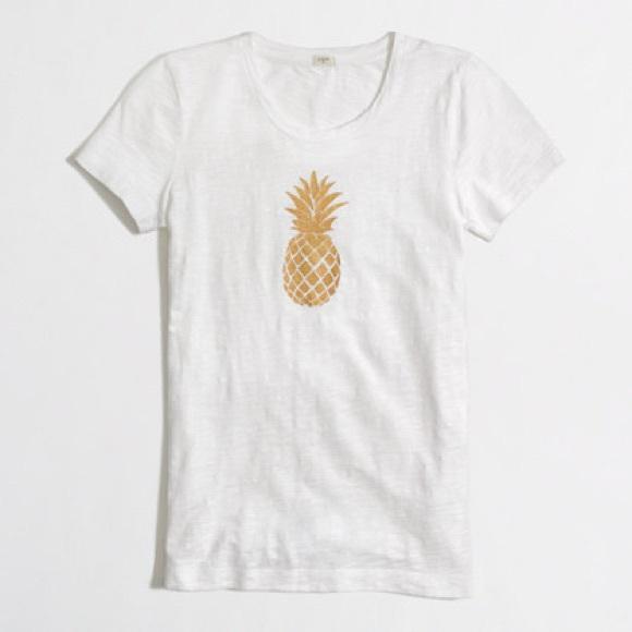 c11dc6816849 J. Crew Tops | Euc J Crew White Gold Pineapple T Shirt | Poshmark
